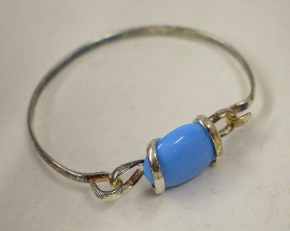 Bracelet Silver Turquoise Blue Colored Glass Handmade Glass Silver Bracelet Fun Turquoise Color Glass Unique