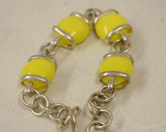 Bracelet Silver Lemon Yellow Glass Adjustable Handmade Glass Silver Jewelry Bracelet Fun Yellow Colorful Glass Unique
