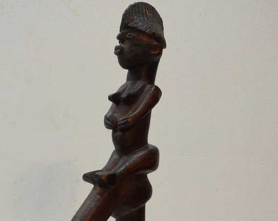 African Cane Lobi Tribe Walking Stick Figure Carved Handle Burkino Faso Prestige Walking Cane