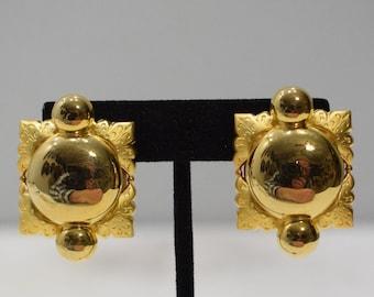 Earrings Two Tone Gold Clip Earrings