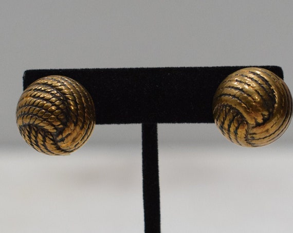 Earrings Gold Knotted Button Clip Earrings