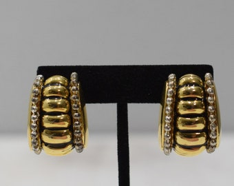 Earrings Gold Silver Grooved Clip Earrings