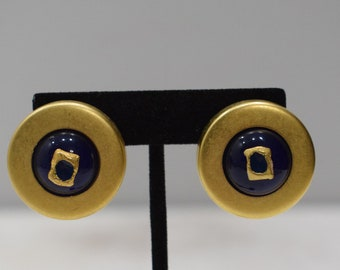 Earrings  Gold Lucite Round Clip Earrings