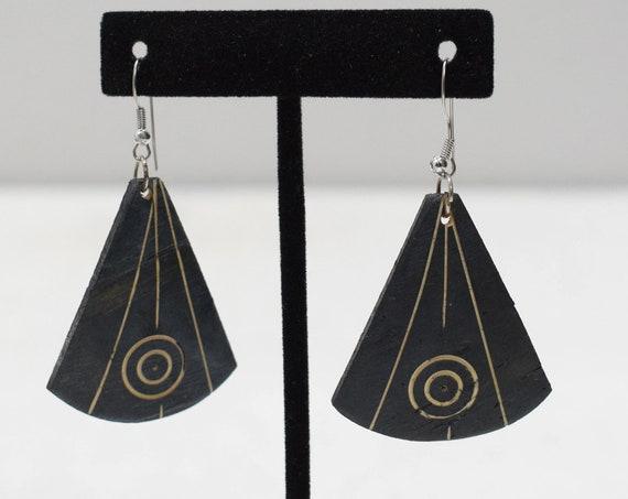 Earrings Etched Circle Coconut Dangle Earrings