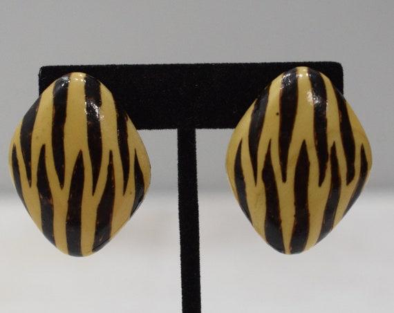 Earrings Animal Print Wood Clip Earrings