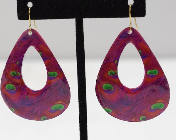 Earrings Enamel Painted Feather Earrings