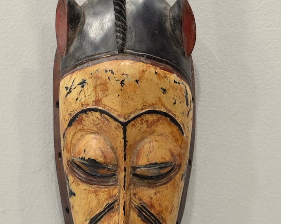 African Mask Baule Yellow Wood Mask Mask Ivory Coast 21""