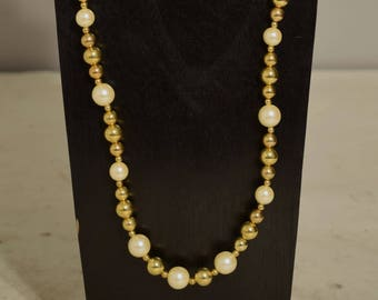 Necklace Long Pearl Gold Beaded Handmade White Pearl Necklace Jewelry