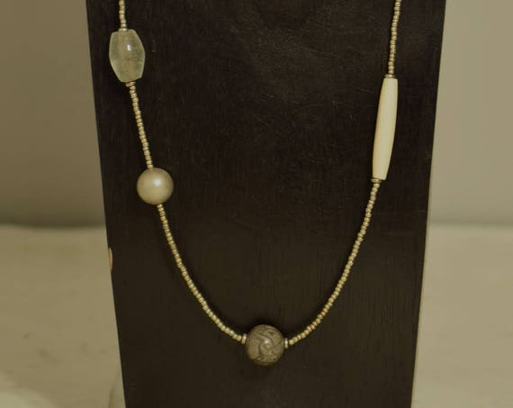 Necklace Long Bone Glass Stone Silver Hand Beaded Jewelry Necklace