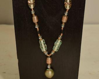 Necklace Czechoslovakian Green Bronze Pendant Beaded Handmade Bronze Glass Necklace Jewelry