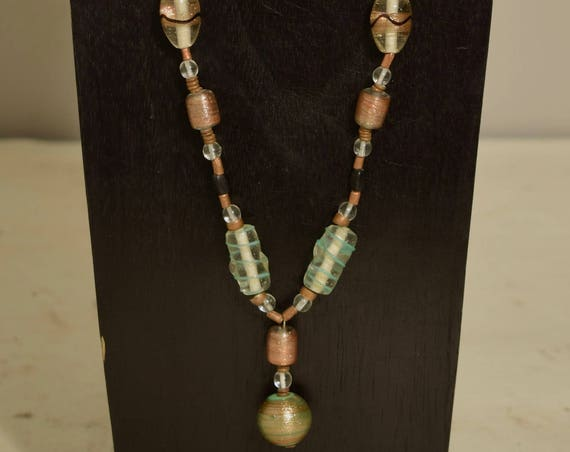 Necklace Czechoslovakian Green Bronze Pendant Beaded Handmade Bronze Glass Necklace Jewelry