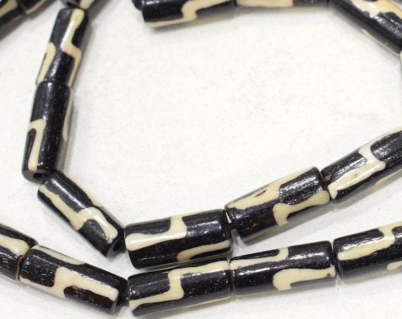 Beads Indonesian Batik Bone Tubed Beads 18-20mm
