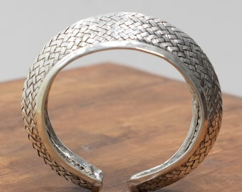 Bracelet Miao Hill Tribe Woven Silver Crown Cuff