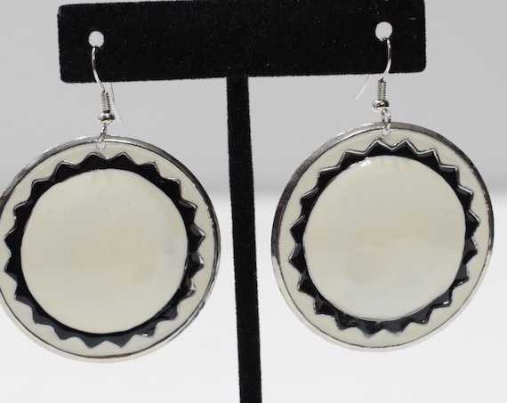 Earrings Black White Round Earrings