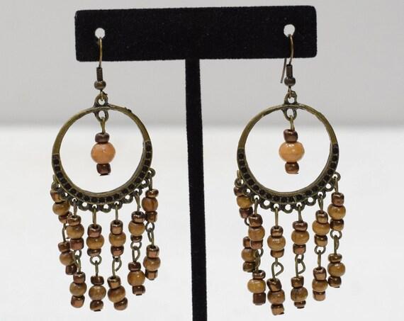 Earrings Bronze Large Hoop Beaded Earrings