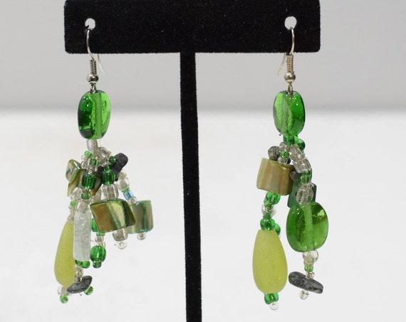 Earrings Green Glass Beaded Earrings
