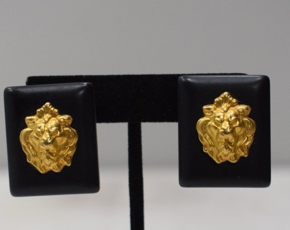 Earrings Black Square Gold Lion Earrings