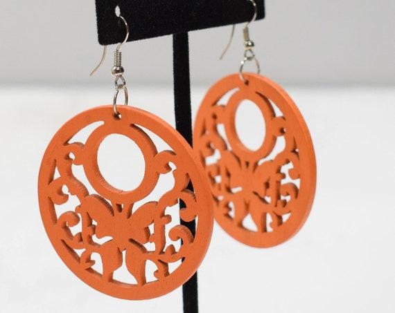 Earrings Orange Carved Wood Earrings