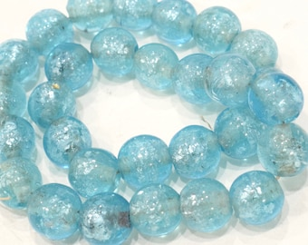 Beads Blue Crackle Glass Beads 16mm
