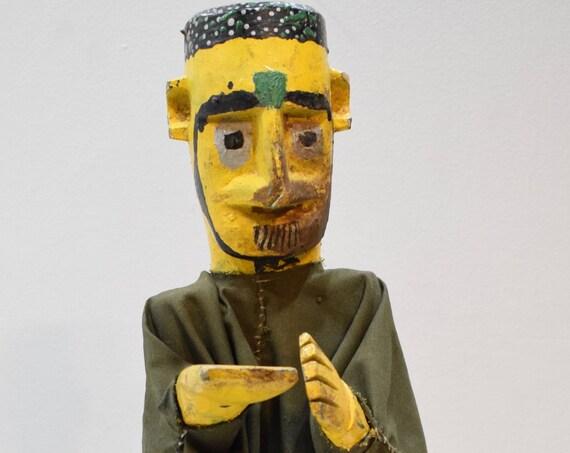 """African Mask Bambara Marionette Yellow Puppet Mali 23"""""""
