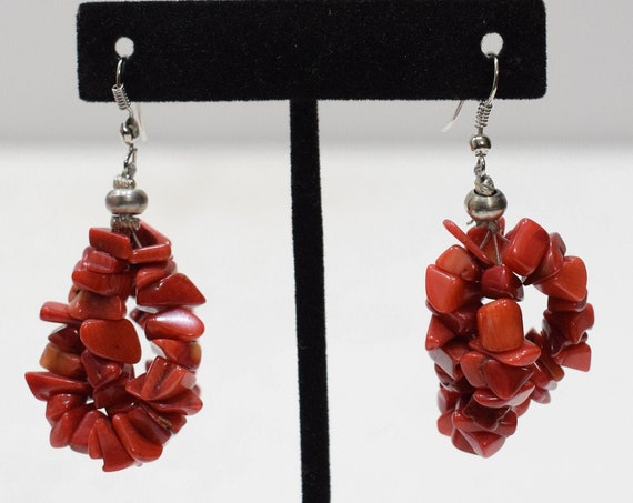 Earrings Chinese Red Dyed Coral Nugget Earrings