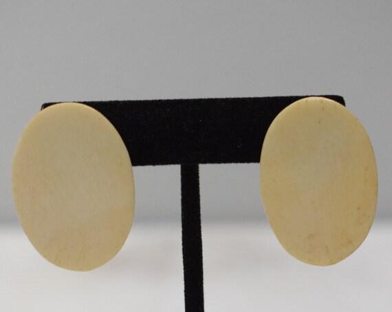Earrings Oval White Bone Clip Earrings