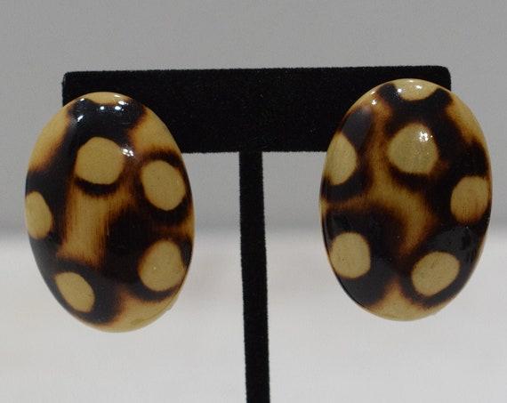 Earrings Wood Animal Print Clip Earrings