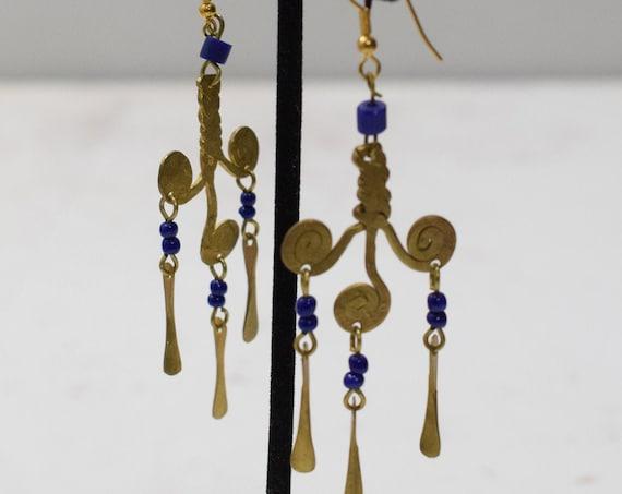 Earrings African Brass Blue Glass Earrings