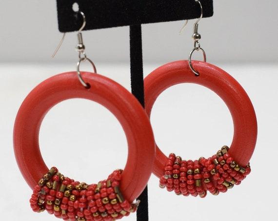 Earrings Red Beaded Hoop Earring