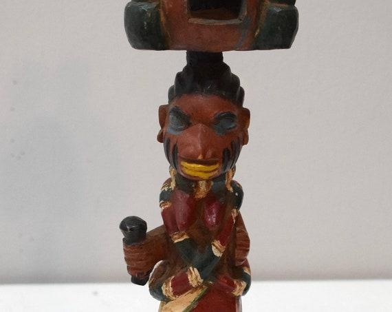 "African Yoruba Shango Dance Fetish Painted Wood Statue 16"""