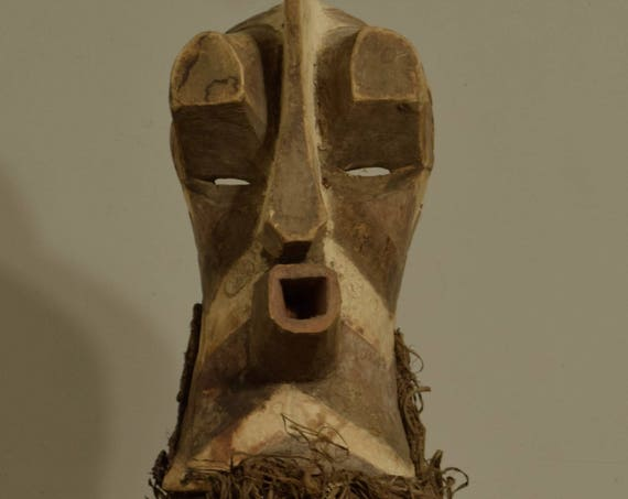 African Mask Songye Tribal Male Black White Wood Rafia Crest Mask Congo Handmade Carved Wood Male Society Power Secret Mask