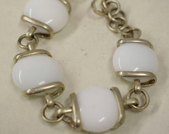 Bracelet Silver White Glass Adjustable Handmade Glass Silver Jewelry Bracelet Fun White Glass Unique