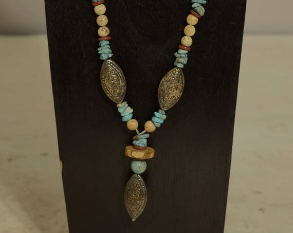 Necklace Chinese Turquoise Silver Picture Jasper Hand Beaded Southwest Jewelry Necklace