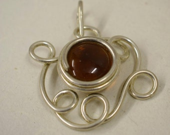 Pendant Silver Large Amber Colored Glass Handmade Glass Silver Jewelry Necklace Bracelet Fun Amber Color Glass Unique