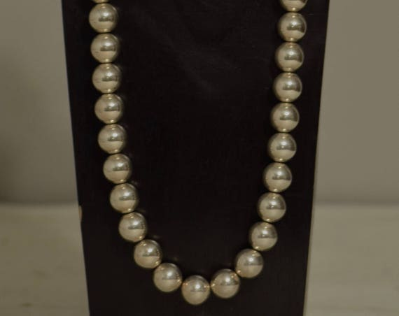 Necklace Long Bright Silver Beads Handmade Silver Round Beads Simple Elegant Beaded Necklace