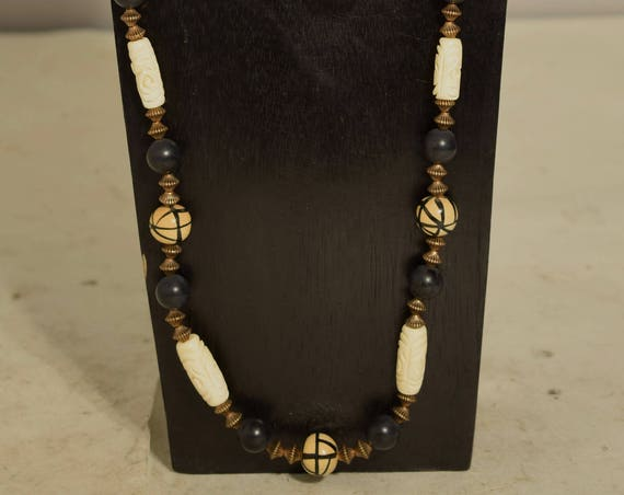 Necklace Philippine Painted Wood Bone Black Gold Beaded Handmade Black White Necklace Jewelry