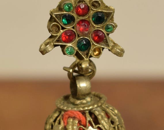 "Beads Silver Earring Kuchi Silver Single Red Glass Tribal Jewelry Middle Eastern Kuchi 3"""