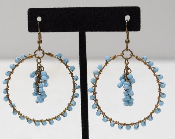 Earrings Blue Beaded Glass Hoop Earrings