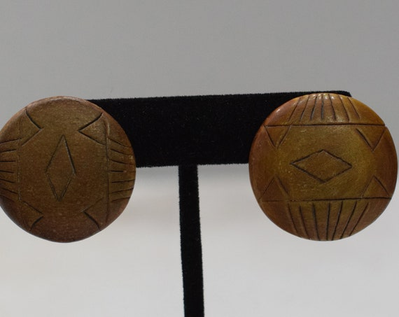 Earrings Etched Wood Button Clip Earrings