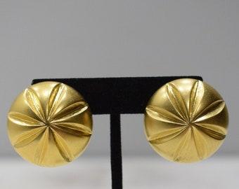 Earrings Painted Gold Wood Earrings