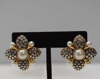 Earrings Gold Silver Pearl Clip Earrings