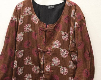 Jacket Silk Brown Rose Brocade Jacket
