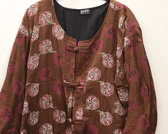 Jacket Silk Brown Rose Brocade Jacket
