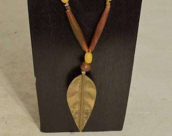 Necklace African Brass Turkana Spear Pendant Amber Horn Handmade African Brass Spear Brown Horn  Spear Pendant Necklace
