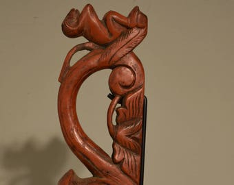 Rice Scoop Red Lacquer Monkey Teakwood Handle Rice