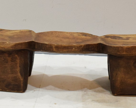 African Stool Lobi Wood Carved Double Face 3 Seat Stool Burkina Faso Status Chair Stool