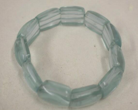 Bracelet Ice Blue Resin Stretch Handmade Bracelet