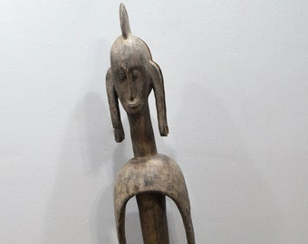 African Statue Mumuye Tribe Cameroon Elongated Body Carved Wood Statue