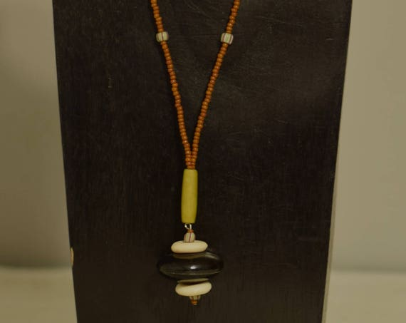 Necklace Black Horn Pendant Bone African Glass Brown Glass Hand Beaded Pendant Jewelry Necklace