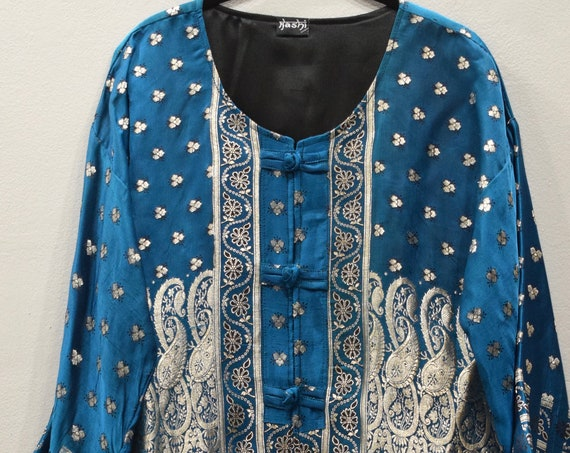 Jacket Silk Teal Blue Gold Brocade Jacket